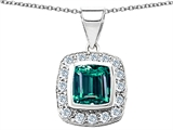 Original Star K™ Square Cushion Cut Simulated Emerald Pendant