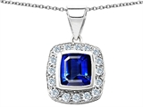 Original Star K™ Square Cushion Cut Created Sapphire Pendant style: 305535