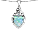 Original Star K™ Large Loving Mother Twin Children Pendant With 12mm Heart Shape Created Opal