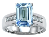 Original Star K Classic Octagon Emerald Cut 9x7 Engagement Ring With Simulated Aquamarine
