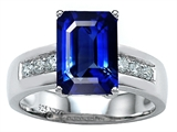 Original Star K™ Classic Octagon Emerald Cut 9x7 Engagement Ring With Created Blue Sapphire