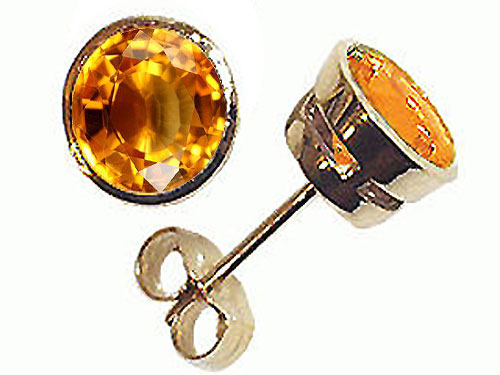 Tommaso Design Round Genuine Citrine Earrings