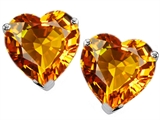 Original Star K Heart Shape Genuine Citrine Earring Studs