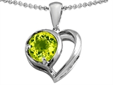 Star K™ Heart Shape Pendant Necklace With Round Simulated Peridot style: 305564