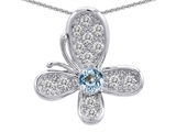 Original Star K™ Butterfly With Simulated Aquamarine Pendant