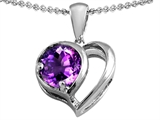 Star K™ Heart Shape Pendant Necklace With Round Simulated Amethyst style: 305572