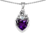 Original Star K™ Loving Mother With Children Pendant With  Heart Shape Genuine Amethyst