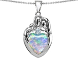 Original Star K™ Large Loving Mother And Father With Child Family Pendant With Heart Shape 12mm Created Opal