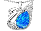 Original Star K Love Swan Pendant With Pear Shape Created Blue Opal