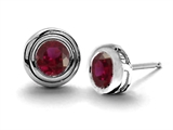 Original Star K™ Round Genuine Ruby Earrings Studs style: 305590