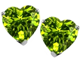 Original Star K Heart Shape Genuine Peridot Earring Studs