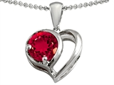 Star K™ Heart Shape Pendant Necklace With Round Created Ruby style: 305597