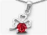 Celtic Love by Kelly Round Created Ruby Lucky Clover Pendant style: 305598