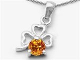 Celtic Love by Kelly Round Genuine Citrine Lucky Clover Pendant