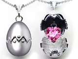 Original Star K™ Egg Pendant with September Birthstone Heart Created Pink Sapphire Surprise Inside