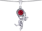 Star K™ Cat Lover Pendant Necklace with July Birth Month Round 7mm Created Ruby style: 305609