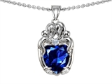 Original Star K™ Loving Mother And Twins Family Pendant With Heart Shape Created Sapphire