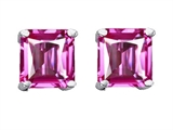 Original Star K Square 7mm Created Pink Sapphire Earrings