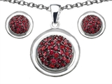 Original Star K™ Created Ruby Round Puffed Pendant with matching earrings style: 305614