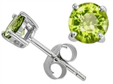 Original Star K Classic Round 6mm Earring Studs with Genuine Peridot