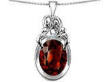 Original Star K™ Large Loving Mother Twin Family Pendant With Oval 11x9mm Simulated Garnet