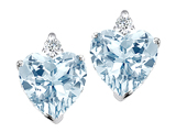 Tommaso Design 7mm Heart Shape Simulated Aquamarine and Genuine Diamond Earring Studs