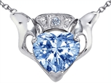 Celtic Love™ by Kelly Claddagh Love Pendant With Simulated Aquamarine and Genuine Diamond