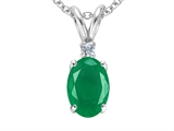 Tommaso Design™ Genuine Emerald and Diamond Pendant