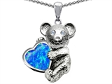 Original Star K™ Love Bear Hugging Birthstone of October 8mm Heart Shape Created Blue Opal