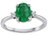 Tommaso Design 8x6mm Oval Genuine Emerald and Diamond Engagement Ring