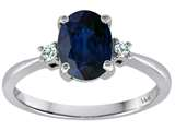 Tommaso Design 8x6mm Oval Genuine Sapphire and Diamond Engagement Ring