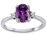 Tommaso Design 8x6mm Oval Genuine Amethyst and Diamond Engagement Ring