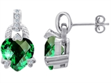 Original Star K™ Heart Shape Simulated Emerald Large Designer Hanging Drop Earrings