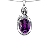 Original Star K™ Loving Mother With Child Family Pendant With Oval 11x9mm Simulated Amethyst