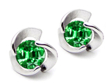 Original Star K Round 6mm Simulated Emerald Flower Earring Studs