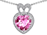 Original Star K™ Heart Shape Created Pink Sapphire And Cubic Zirconia Pendant