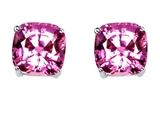 Original Star K Cushion Cut 7mm Created Pink Sapphire Earrings Studs