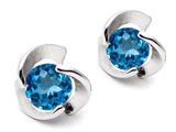 Original Star K Round Genuine Blue Topaz Flower Earring Studs