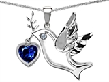Original Star K Peace Love Dove Pendant with 7mm Heart Shape Created Sapphire