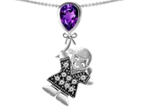Star K™ Girl Holding a Balloon Mother February Birth Month Pear Shape Simulated Amethyst Pendant Necklace style: 305661
