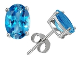 Original Star K Classic Oval 7x5mm Genuine Blue Topaz Earring Studs