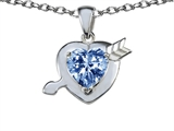 Original Star K™ Arrow Love with Heart Shape 8mm Simulated Aquamarine Pendant