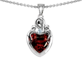 Original Star K™ Loving Mother Twin Children Pendant With Heart Shape Genuine Garnet