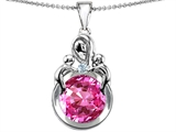 Original Star K™ Large Loving Mother With Twins Children Pendant With Round 10mm Created Pink Sapphire