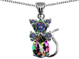 Original Star K™ Cat Pendant With Rainbow Mystic Topaz