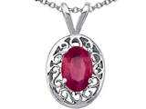 Tommaso Design Oval Genuine Ruby Pendant