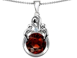 Original Star K™ Large Loving Mother With Twins Children Pendant With Round 10mm Simulated Garnet