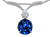Tommaso Design Round 7mm Created Sapphire and Genuine Diamond Pendant