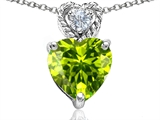 Original Star K™ 8mm Heart Shape Genuine Peridot Pendant