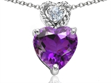 Original Star K 8mm Heart Shape Genuine Amethyst Pendant